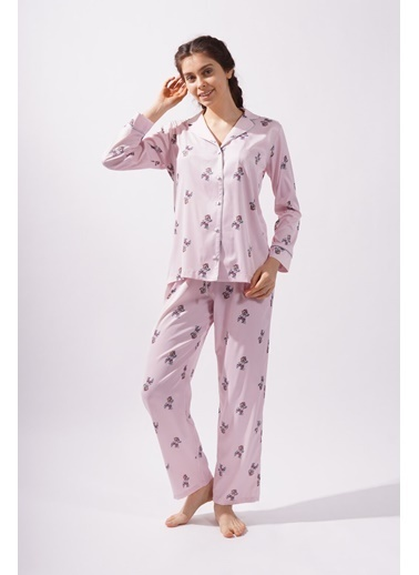 Katia & Bony Teddy Bear Kadın Saten  Pijama Altı -Pembe Pembe